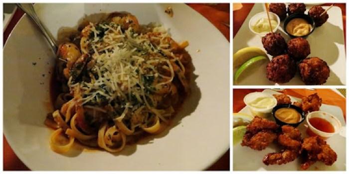 shrimp pasta. conch fritters. coconut shrimp.