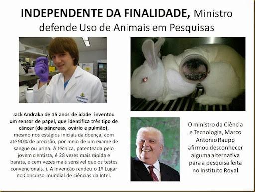 Ministro defende Uso de animais