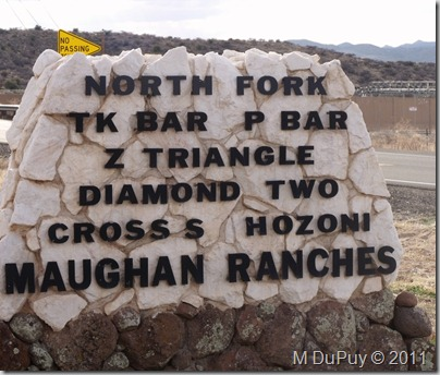 Maughan Ranches sign at jct SR89 & Wagner Rd Arizona