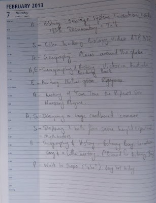 Image: Example homeschool record, a diary entry of a days activity