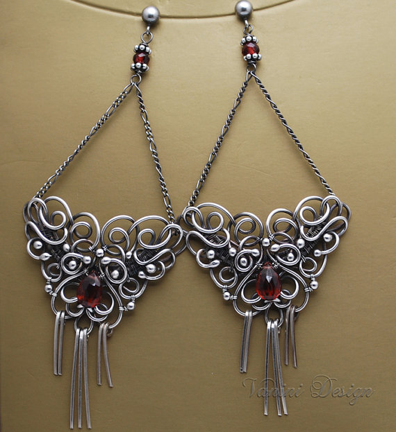 Intricate Earrings Created From Fine And Sterling Silver Hand Twisted Wire Wred Adorned With The Most Beautiful Aaa Pyrope Red Garnet