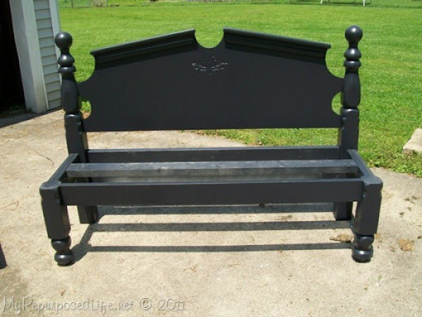 pretty black large headboard bench frame