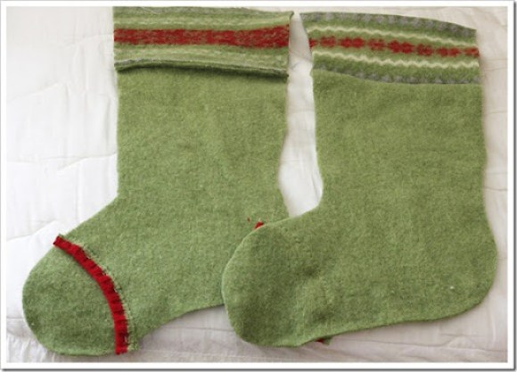 stocking made from green wool felted sweater