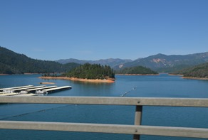 over the bridge crossing Shasta lake