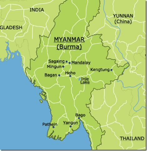 map burma myanmar Yangon Bagan Inle