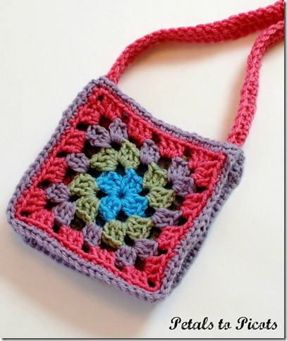 Granny Square Purse Crochet Pattern Petals To Picots