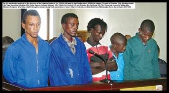 """Image result for Stemmer Mofokeng, 23, Tapa Mofokeng, 34, Paulus """"Vusi"""" Khumalo, 23, Tshokolo Lelala, 19, Telleko Seekoei, 20, and Diphapang Motaung, 18"""