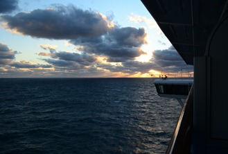 setting sun from our balcony on the Caribbean Princess