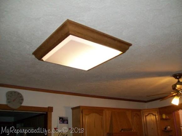 old oak light fixture