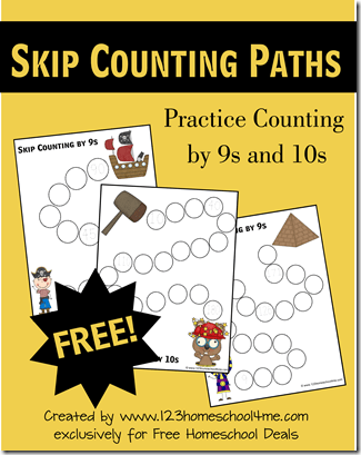 Free Skip Counting by 9s and 10s worksheets for elementary homeschoolers