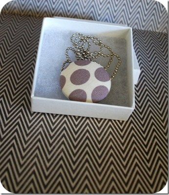 plain covered button pendant
