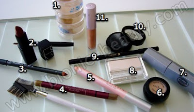Makeup and tools used for Old Hollywood Halloween look