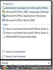 start menu search box in windows vista: office activation