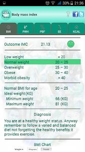BMI Ideal weight and calories screenshot 1