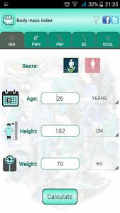 BMI Ideal weight and calories screenshot 0