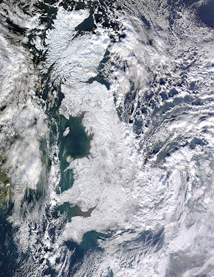 Snow covering the UK, satellite photo January 2010