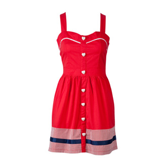 Retro Glamour Vintage Inspired Heart Button Dress by Joy
