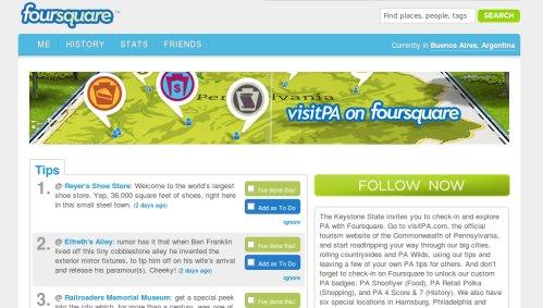 Pennsylvania lanza su pagina en Foursquare