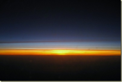 Sunrise from plane over South Africa