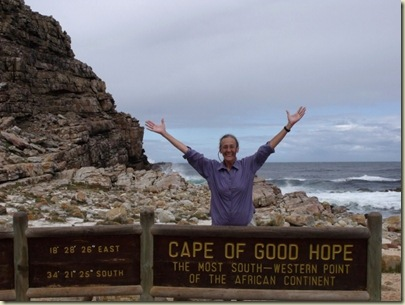 Gaelyn at Cape of Good Hope sign Table Mountain National Park Cape Pennisula South Africa