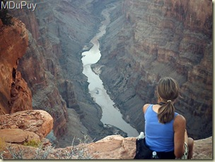 Gaelyn looking up stream at Colorado River Toroweap Grand Canyon National Park Arizona