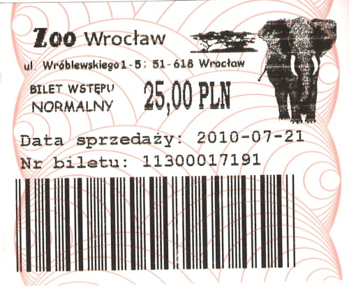 Bilet normalny do wrocławskiego zoo, który kupiliśmy w... biletomacie (kolejki do kasy były zbyt długie)