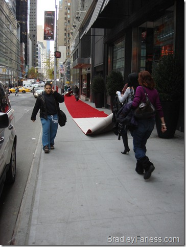 Rolling out the red carpet at Bloomingdales.
