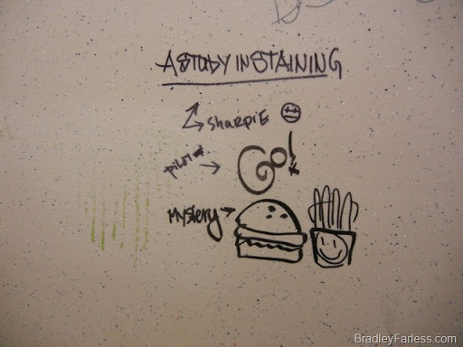 Public restroom graffiti.