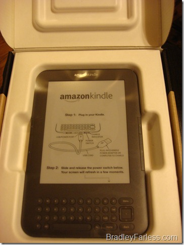 Amazon Kindle in the box. That's not a paper. That's really the screen displaying a 'page'.