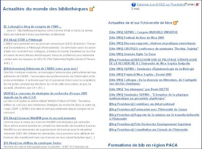 Copie d'écran - intégration d'un fil RSS sur Confluence