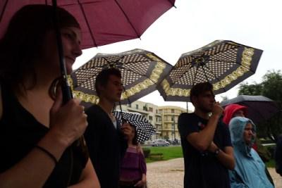Walking tour. Amazing amount of rain but we persisted.