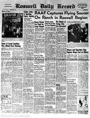 Jornal de Roswell com afirmação dos militares sobre queda de Ovni.