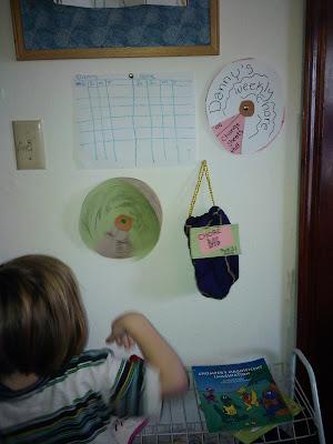 J.J. spins the chore wheel