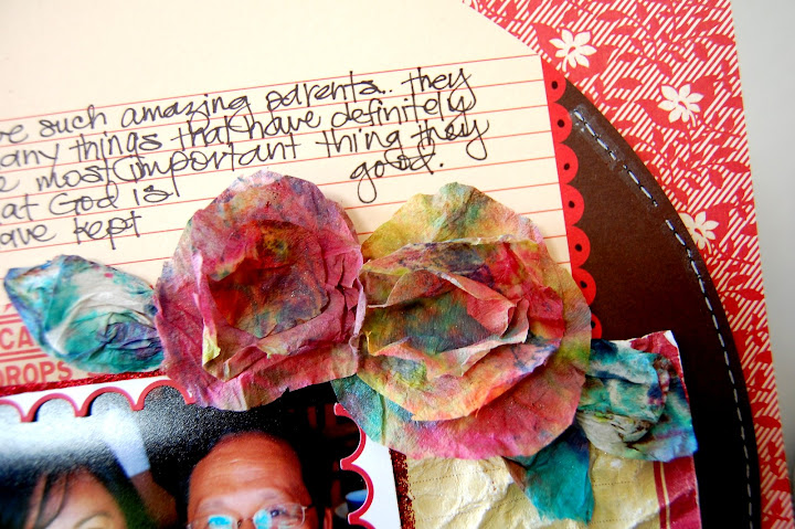 I made the flowers with the paper towels I used to wipe up my Glimmer Mist! :)