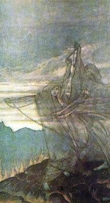 Il crepuscolo degli dei - Le Norne tessono il filo del destino, illustrazione di Arthur Rackham