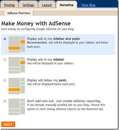 Blogger adsense options