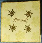 Kermanvärinen leimailtu joulukortti