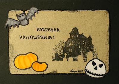 Mustapohjainen Halloween -kortti