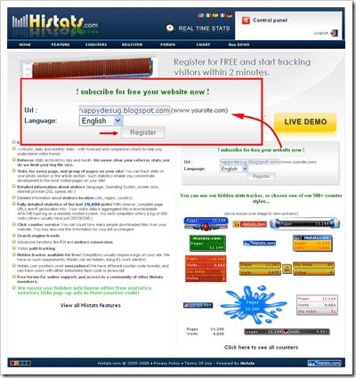 Statistik blog widget gratis dari histats 02