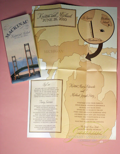 Kristen Michael Michigan Map Wedding Invitations