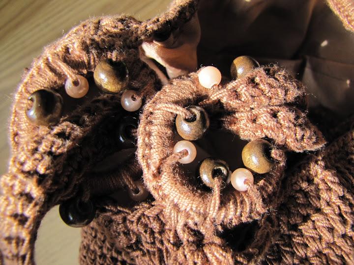 Geanta crosetata din macrame maro