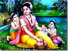 Lava and Kusha with Mother Sita Devi