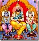Dashratha with Rama and Lakshmana
