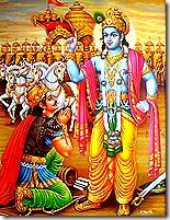 Lord Krishna speaking Bhagavad-gita