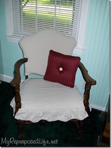 easy slipcover drop cloth for side chair tutorial