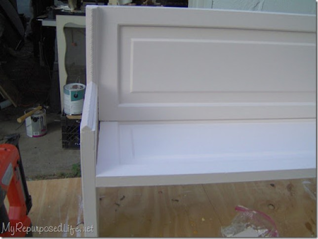 door repurposed into a bench