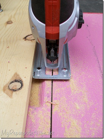 use jigsaw to cut door to make a toddler bed