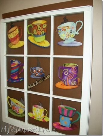 coffee cup artwork using an old window