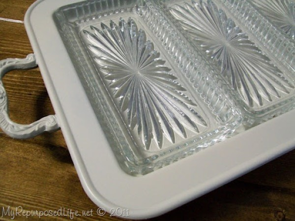 white painted silver tray
