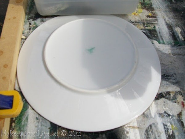 put water in saucer time to drill hole with diamond bit